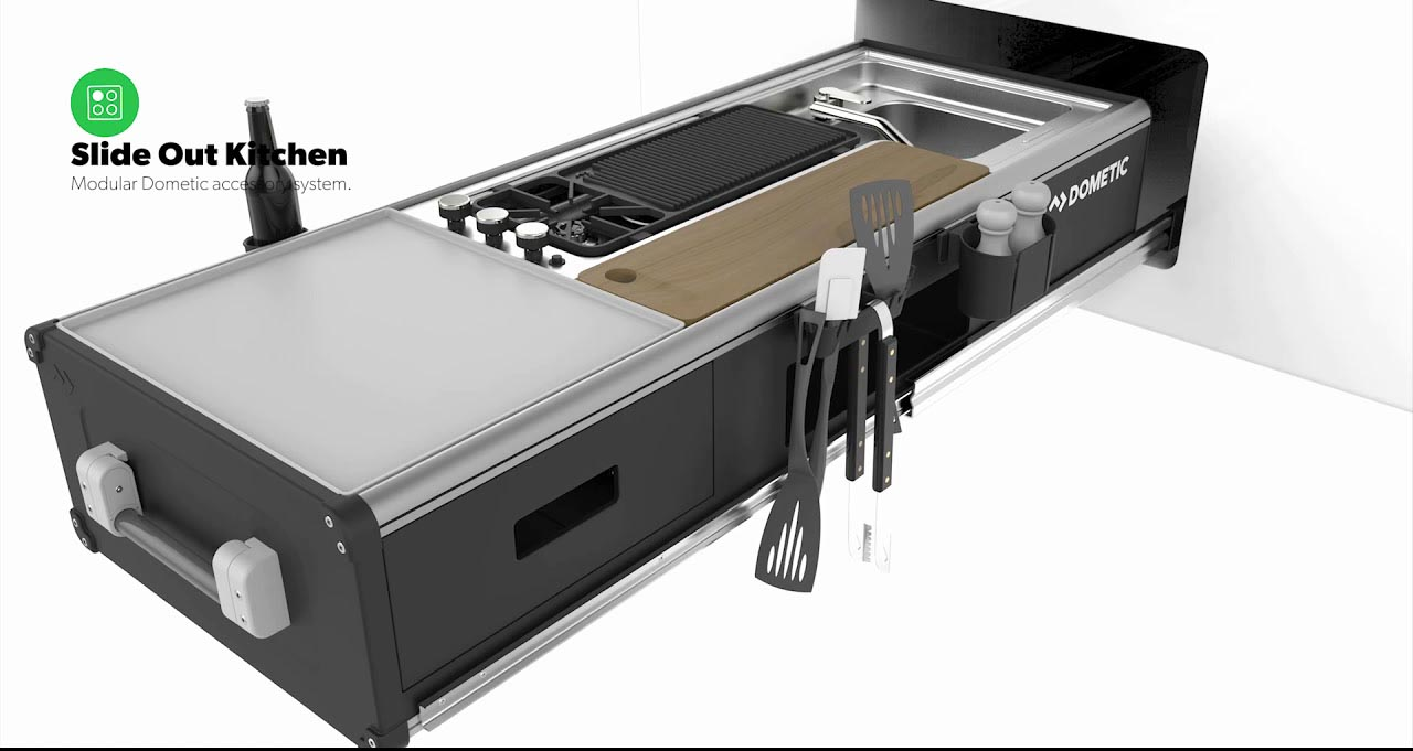 Slide out kitchen for luxury trailer